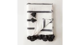 Image of a Grey Hand Loomed Striped Blankets