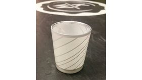 "Image of a 3"" x 2"" White Stripped Cylinder Votive Holder"