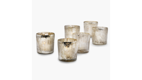 Image of a 2 1/2in Ribbed Antique Silver Votive Holder