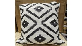 Image of a Black and White Aztec Print Decorative Pillow