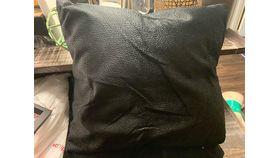 Image of a Black Leather Accent Pillows