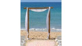 Image of a 2 Post Bamboo Arch w/ Draping