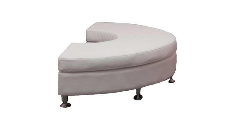 Picture of a White Leather Curved Bench