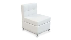 Image of a White Leather Armless Chair V1