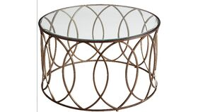 Image of a Bronze Round Glass Coffee Table