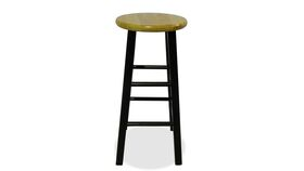 Image of a Barstool-Wooden-Black Legs-Tall