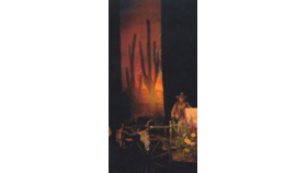 Image of a Backdrop-Double Cactus Sunset Canvas