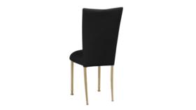 Image of a Black Velvet Chair on Gold Legs
