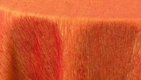 "Image of a 120"" Round Fire Orange Crinkle Tablecloths"