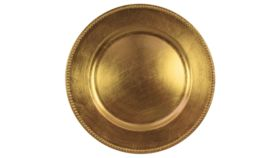 Image of a Gold Lacquer Charger - Beaded