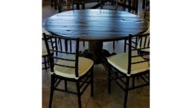 "Image of a 60"" Round Wood Farm Table"