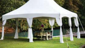 Image of a Tent Decoration - 9' Elegant White Leg Drapes