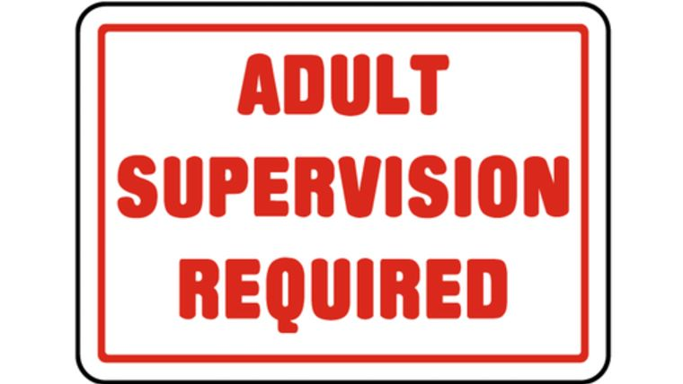 """Picture of a """"Adult Supervision Required"""" Sign"""