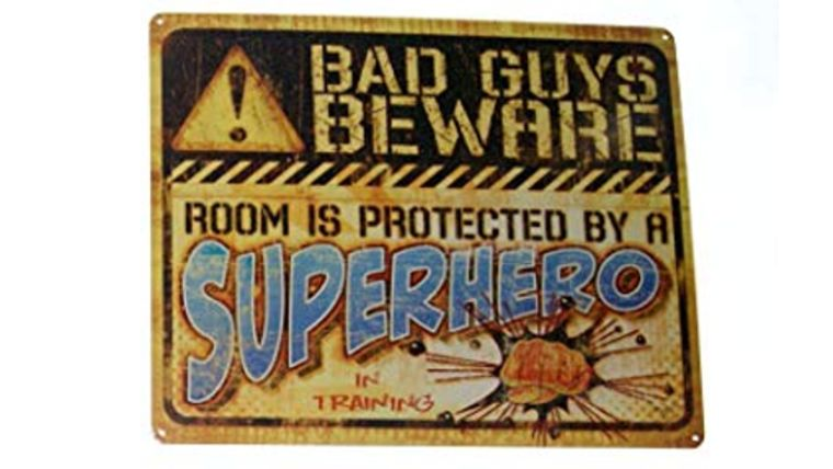 "Picture of a ""Bad Guys Beware"" Sign"