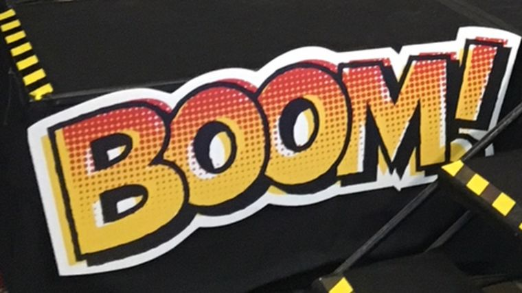 "Picture of a ""Boom!"" Sign"