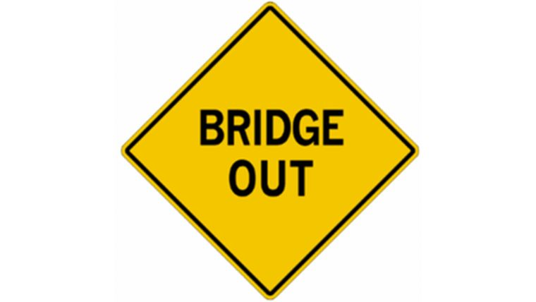 "Picture of a ""Bridge Out"" Traffic Sign"