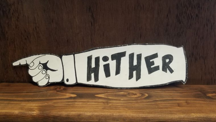 """Picture of a """"Hither"""" Sign"""