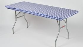 Image of a Kwik Cover - Blue & White Check 8' x 30""