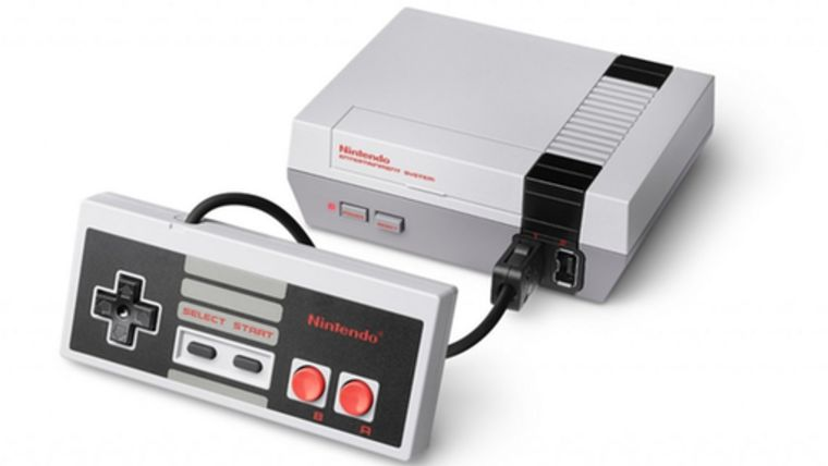 Picture of a NES Classic Console with 2 controllers