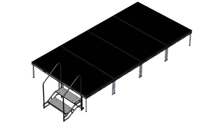 """Picture of a 8' x 16' x 24"""" Stage with Skirt and Stair Step"""
