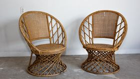 Image of a Vintage Rattan Circle Chairs