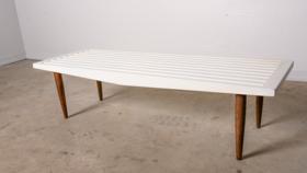 Image of a White Slat Bench