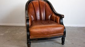 Image of a Oversized Brown Leather Chair