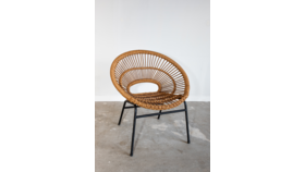 Image of a Rattan Chair with Metal Legs