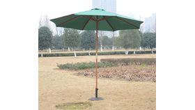 Image of a 9 ft Green market umbrella with base.