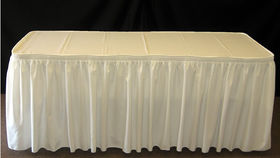 Image of a 14' Ivory Table skirt.