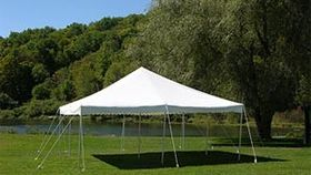 Image of a 20 x 20   White frame tent package deal.