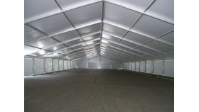 Image of a 18 meter by 5 meter mid white with gable ends white