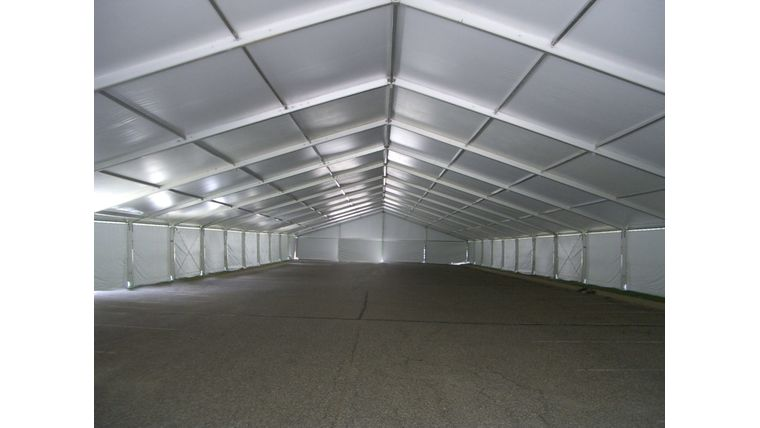 Picture of a 18 meter by 5 meter mid white with gable ends white