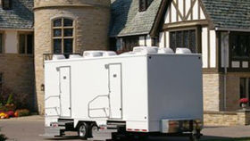 Image of a 18 ft bathroom trailer.