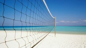 Image of a Volleyball Net with ball