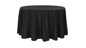 """Image of a Black, Tablecloth - 120"""" Round"""