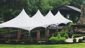 Image of a White, High-Peak Tent - 40'x60'