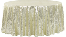 """Image of a 120"""" Ivory Sequin Tablecloth"""