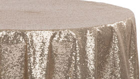 """Image of a 120"""" Gold Sequin Tablecloth"""
