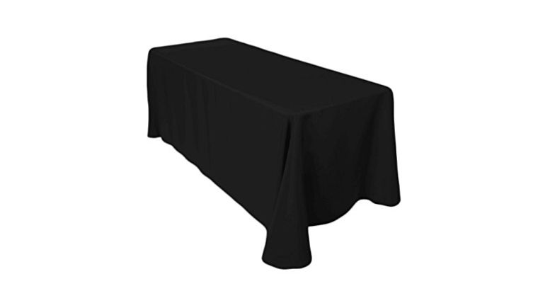 """Picture of a 90 x 132"""" Black Polyester Tablecloth"""