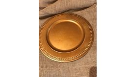 Image of a Charger Plate Dark Gold Beaded Dinnerware