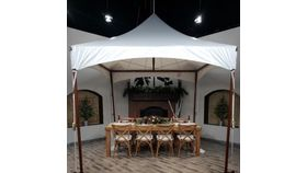 Image of a 10 x 10 Sail Cloth Top, Wood-grain Frame High Peak Tent