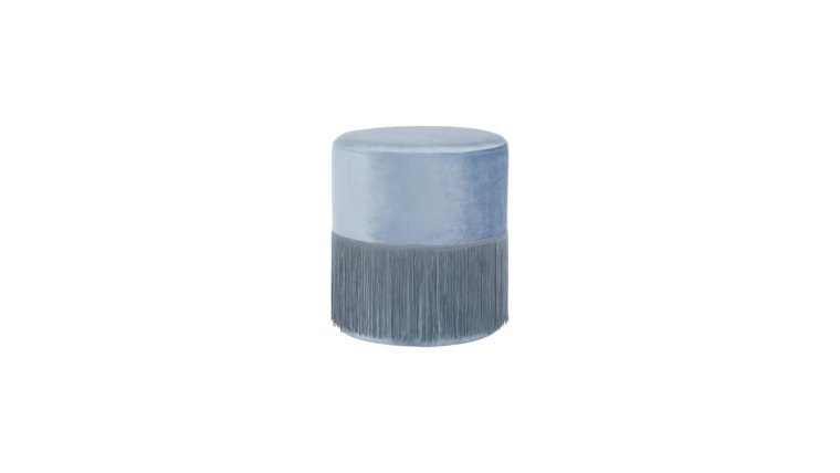 Picture of a DUSTY BLUE FRINGE OTTOMAN
