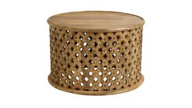 Image of a ROUND TRIBAL CARVED COFFEE TABLE