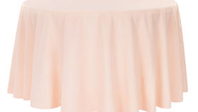 """Image of a 132"""" Round Polyester Tablecloths ~ Blush"""