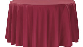 """Image of a 132"""" Round Polyester Tablecloths ~ Burgundy"""