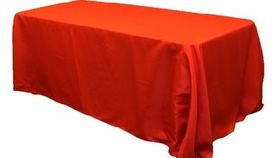 """Image of a 90"""" x 156"""" Rectangle Polyester Tablecloths ~ Red"""