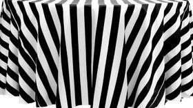 "Image of a 120"" Round Satin Tablecloths ~ Black & White Stripe"