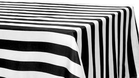 "Image of a 90"" x 156"" Rectangle Satin Tablecloths ~ Black & White Stripe"