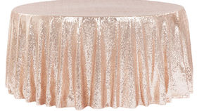 """Image of a 120"""" Round Sequin Tablecloths ~ Rose Gold"""